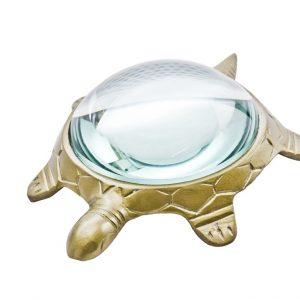 szkło powiększające, przycisk do papieru żółw