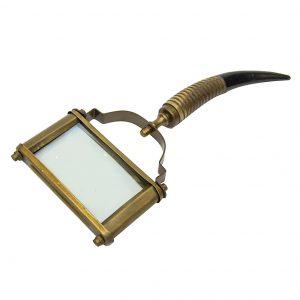 Mosiężne prostokątne szkło powiększające rączka palisander wykończenie antyk