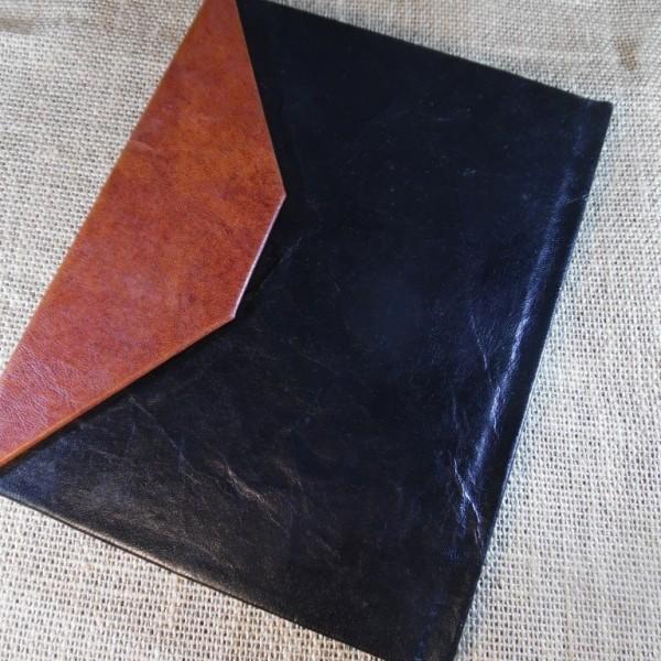 notes skórzany czarno brązowy