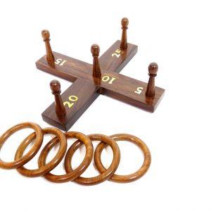 Zręcznościowa gra Hoopla - pięć drewnianych kółeczek
