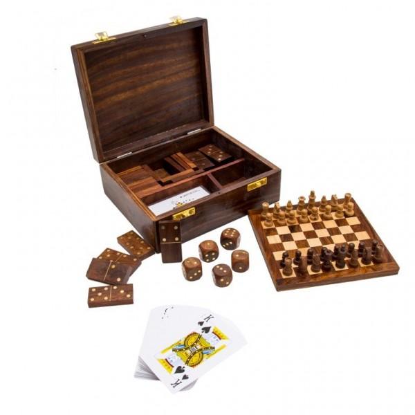 Zestaw gier szachy, domino, karty, kości