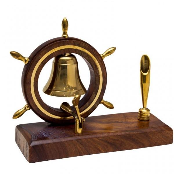 Stojak na długopis z dzwonkiem wpisanym w koło sterowe