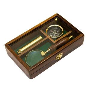 zestaw kompas luneta szkło-powiększajace
