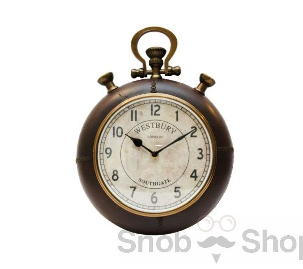 Naścienny, okrągły zegar oprawiony w skórę