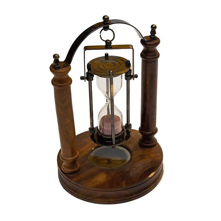 drewniana klepsydra obrotowa z kompasem