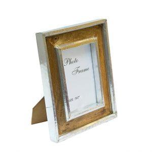 drewniana ramka ze srebrnymi listwami 13x18