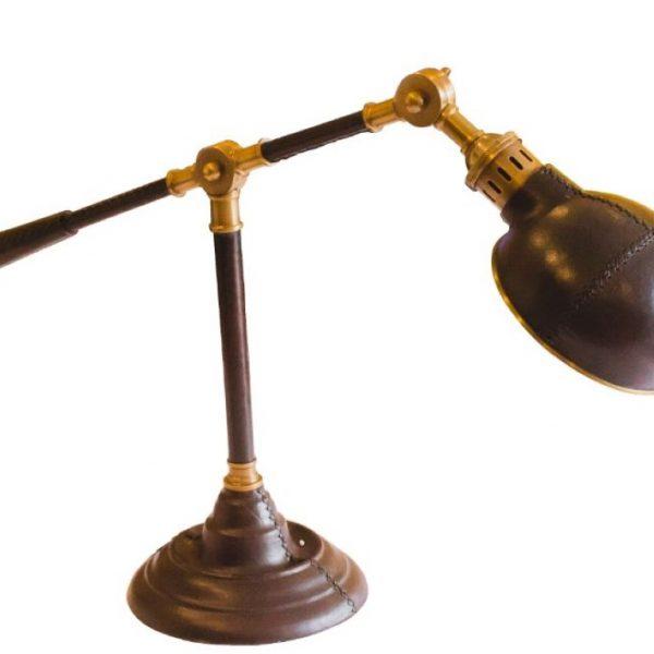 Mosiężno - skórzana lampa biurowa Tom