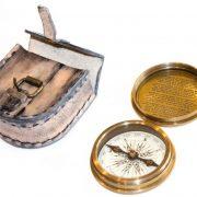 kompas mosiężny w skórzanym etui