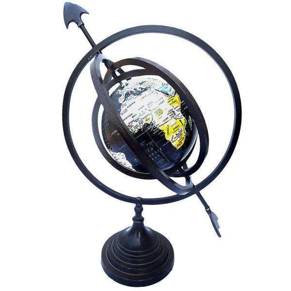 globus sferyczny czarny