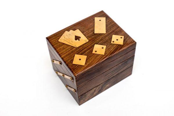 pudełko na gry domino, kości, karty