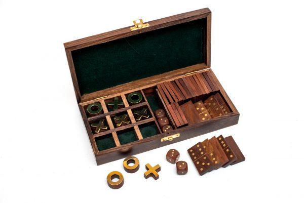 pudełko na gry kółko i krzyżyk, domino, kości