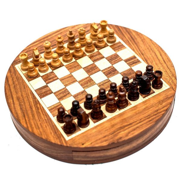 szachy okrągłe z szufladką