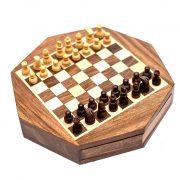 szachy ośmiokątne w pudełku drewnianym