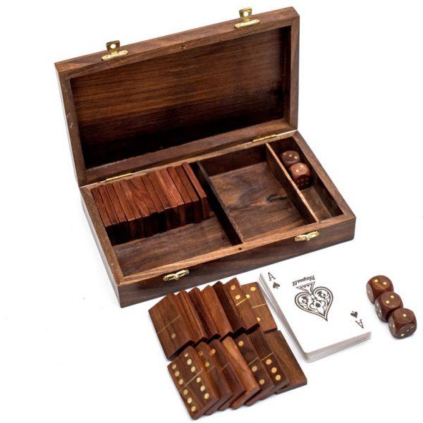 zestaw 3 gier, karty, domino, kości