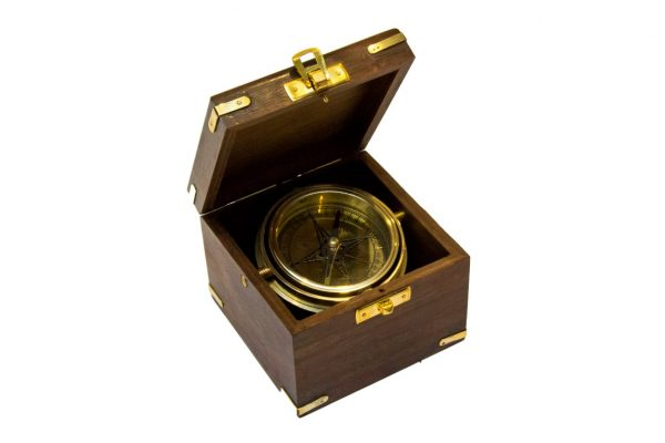 Busola- Gimble w pudełku z palisandru, 10x10cm