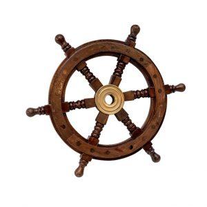 Dekoracyjne drewniane koło sterowe 30,5cm