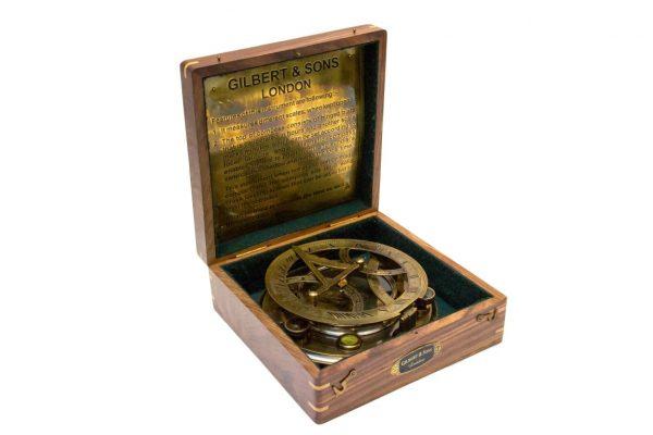Dollond Zegar słoneczny z mosiądzu w pudełku z palisandru
