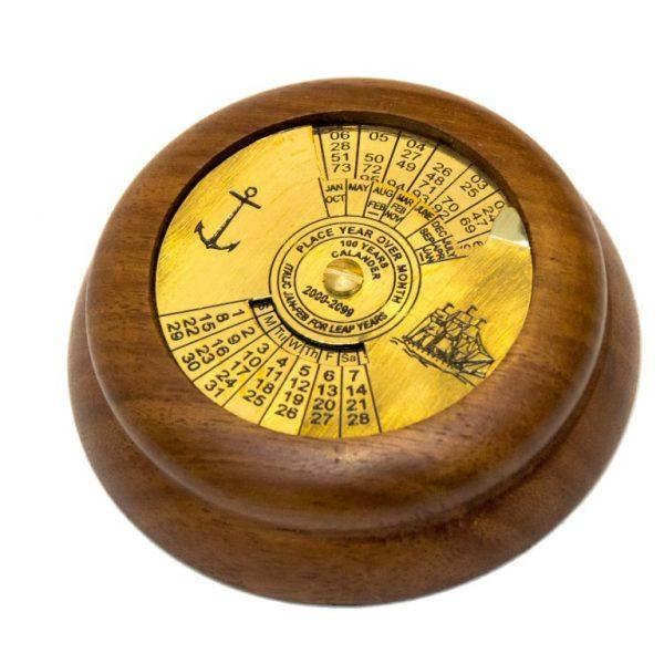 Kalendarz 100-letni mosiężno - drewniany