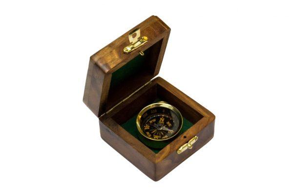 Kompas mosiężny w pudełku z palisandru