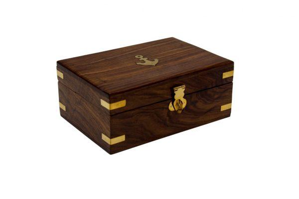 Pudełko drewniane na 6 mosiężnych kubków