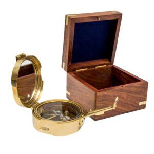 Mosiężny kompas Brunton w pudełku z palisandru