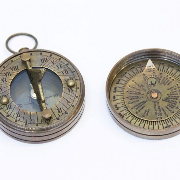 Mosiężny zegar słoneczny z kompasem - styl antyczny