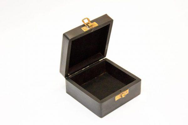 Otwarte pudełko z palisandru z mosiężną tabliczką - 10x10cm