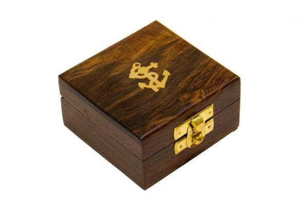 Pudełko drewniane 6.5x6.5 cm z kotwiczką