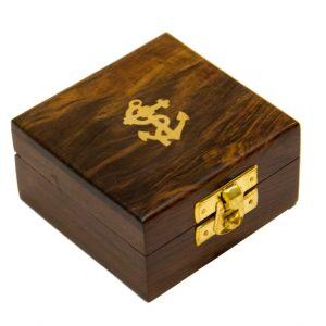 Pudełko drewniane z kotwiczką 10x10x5 cm
