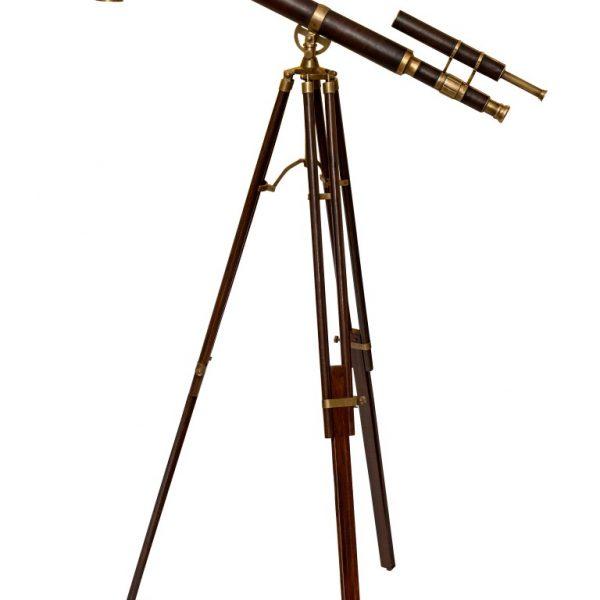 Stojąca, podwójna luneta mosiężno - skórzana retro Barrel na trójnogu