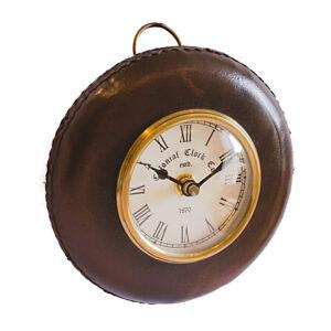 okrągły zegarek skórzany