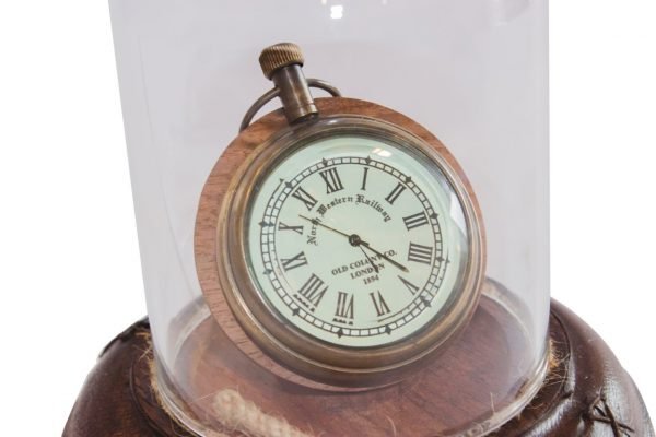 zegarek klosz klosz szklany, podstawa skórzana