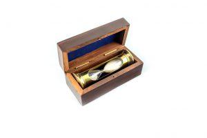 klepsydra mosiężna round w pudełku drewnianym