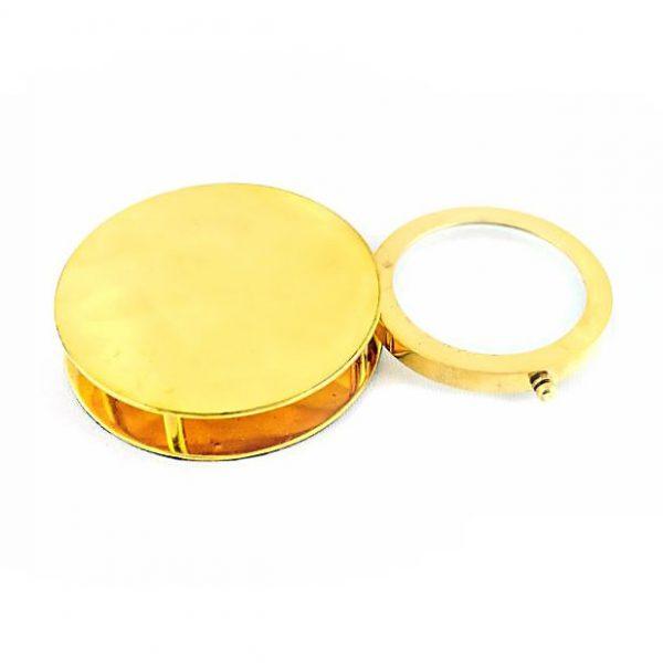 szkło powiększające składane złote