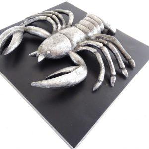 Rak - znak zodiaku - figurka aluminiowa na drewnianej podstawie