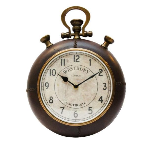 Duży mosiężno – skórzany zegar naścienny