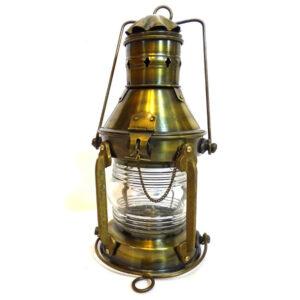 Marynistyczna, mosiężna lampa naftowa – retro